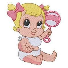 CUTE BABIES Free Machine Embroidery Designs, Custom Embroidery, Embroidery Thread, Cross Stitch Embroidery, Baby Clip Art, Girly Drawings, Digi Stamps, Doll Patterns, Free Design