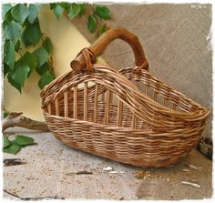 Basket with the wooden handle