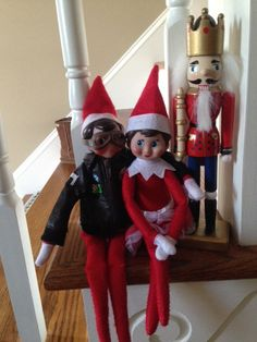 Elf on the Shelf-Skippy dressed in his aviator jacket and goggles snuggling with Ginger. www.lifeinbucklesberry.blogspot.com