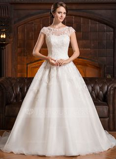[US$ 249.99] A-Line/Princess Scoop Neck Chapel Train Organza Wedding Dress With Appliques Lace