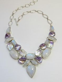 Moonstone, Rainbow Topaz, and Pearl Necklace