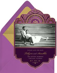 Indian Inspired Invitations in Purple | Greenvelope.com Budget Planner, Guest List, Wedding Story, Traditional Wedding, Wedding Suits, Save The Date, Wedding Cards, Real Weddings, Vibrant