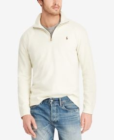 Polo Ralph Lauren Men s Big   Tall Half-Zip Cotton Pullover - Chic Cream 2LT 3d7646fd76c8