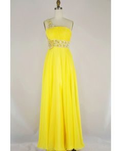 bright yellow color, delicate beadwork and ruche, soft and flattering chiffon skirt, is it your dreaming prom gown? Get it at www.lynnsbridal.com   style code PM-0214