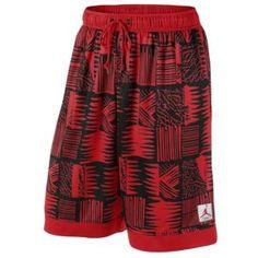 Jordan Retro 4 Brush Print Short - Men's - Basketball - Clothing - Gym Red/White