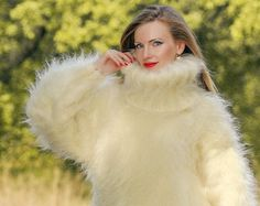 SuperTanya luxury sweater hand knitted with ivory mohair with turtleneck
