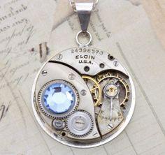 Steampunk Necklace Sterling Silver Aquamarine Blue