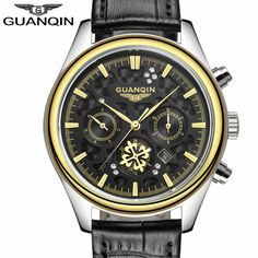105.00$  Watch more here - http://ai205.worlditems.win/all/product.php?id=32803597575 - Mens Watches Top Brand Luxury GUANQIN Watch Men Casual Leather Quartz Watch Men's Fashion Wristwatch reloj relogio masculino