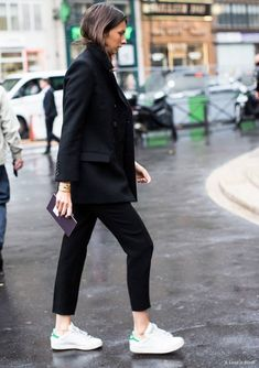 Black trouser suit and sneakers