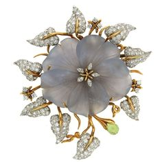 Hand Carved Chalcedony Flower Diamond Gold Leaf Brooch  | From a unique collection of vintage brooches at https://www.1stdibs.com/jewelry/brooches/brooches/