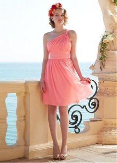 Feminine One Shoulder Natural Knee-length A-line Bridesmaid Dresses