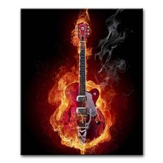 Canvas Print Wall Art Painting For Home Decor,Guitar On Fire Music Paintings Modern Giclee Stretched And Framed Artwork The Picture For Living Room Decoration,Abstract Pictures Photo Prints On Canvas