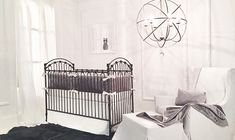 Baby cribs are what we do. Bratt Decor offers an exclusive line of the most luxurious and elegant designer baby cribs in wood and iron. Our vintage styling is unique, beautiful and safe. - page 2 Baby Nursery Themes, Baby Nursery Neutral, White Nursery, Neutral Nurseries, Baby Rooms, Nursery Ideas, Nursery Curtains, Baby Crib Bedding, Baby Cribs