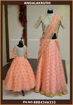 Peach & Powder Blue Classy set of Mom&Daughter outfits . Stunning peach and powder blue color combination half saree and kids outfit with hand embroidery work. Mom Daughter Matching Dresses, Mom And Baby Dresses, Little Girl Dresses, Girls Dresses, Kids Blouse Designs, Dress Designs, Mother Daughter Fashion, Designer Dresses, Pakistan