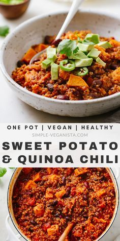 Sweet Potato Quinoa Chili recipe Full of protein fiber vitamins and minerals this thick and hearty chili recipe is easy and always a good thing Stovetop and slow cooker methods Vegan plant-based healthy and ready in as little as an hour Easy Stew Recipes, Vegan Dinner Recipes, Vegan Dinners, Veggie Recipes, Whole Food Recipes, Cooking Recipes, Healthy Recipes, Vegan Sweet Potato Recipes, Vegan Quinoa Recipes