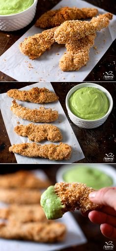 Baked chicken tenders with creamy avocado dipping sauce