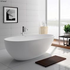 Legion Furniture White Matt Solid Surface Tub - No Faucet - Solid Surface, Surface Finish, Floor Preparation, Stone Bathtub, Soaking Bathtubs, Industrial Bathroom, Duravit, Grey Bathrooms, Grey Stone