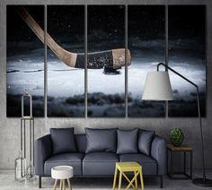 Hockey Canvas Print Wall Art Room Decor / Ice Hockey by ZellartCo Canvas Frame, Canvas Art, Canvas Ideas, Painting Canvas, Hockey Bedroom, Hockey Nursery, Hockey Room Decor, Fox Nursery, Wall Art Prints