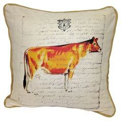 "Cotton and linen-blend pillow with a cow motif.  Product: PillowConstruction Material: Cotton and linen-blend Color: MultiFeatures:  Burlap piped edgeInsert included Dimensions: 20"" x 20""Cleaning and Care: Dry clean"