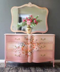 Solid wood French Provincial dresser with rose celebration transfer by Prima Chalk Paint Dresser, Chalk Paint Furniture, Painted Dressers, Furniture Refinishing, Painted Bedroom Furniture, Shabby Chic Furniture, Upcycled Furniture, Home Furniture, Furniture Ideas