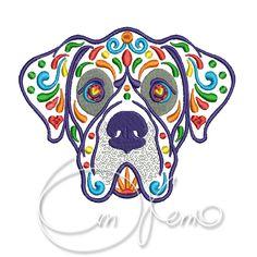 MACHINE EMBROIDERY DESIGN - Calavera Great Dane, Dia de los muertos, calavera dog, day of the dead, great danes by OTKETO on Etsy