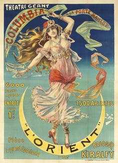 """""""L'Orient"""" by Pal, ca. 1899 vintage poster with a belly dancer"""