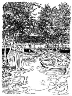 'The old woman went right into the water.' Illustration by Arthur Rackham from…