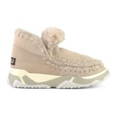 Mou Sneakers Eskimo Trainer In Pink Color Wool In Robe Winter Essentials, Shades Of Black, Leather Sneakers, World Of Fashion, Crocodile, Pink Color, Luxury Branding, Trainers, Slippers