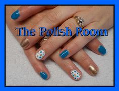 blue and gold combo, polka dots, glitter, freehand nailart, gel polish, natural nails, stunning