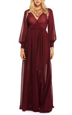 Charlotte Burgundy Romance Dress via Red Chiffon, Chiffon Maxi Dress, Maxi Wrap Dress, Tulle Dress, Wrap Dresses, Best Maxi Dresses, Ball Gown Dresses, Club Dresses, Everyday Dresses