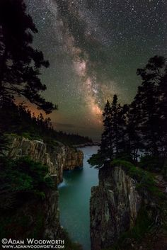 Astrophotographer Adam Woodworth took this image from the Raven's Nest cliffs in Acadia National Park in Maine.