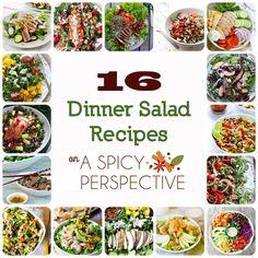 16 Dinner Salad Recipes on ASpicyPerspective.com #salads #dinnersalads #healthy
