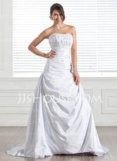 Wedding Dresses - $206.99 - A-Line/Princess Strapless Chapel Train Taffeta Wedding Dresses With Ruffle  Beadwork (002005284) http://jjshouse.com/A-Line-Princess-Strapless-Chapel-Train-Taffeta-Wedding-Dresses-With-Ruffle-Beadwork-002005284-g5284