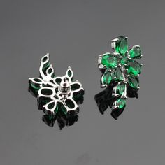 Marquise Green Created Emerald Silver Stud Earrings Bracelet Jewelry Sets For Women Christmas Free Gift Box