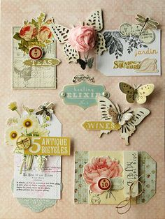 Collage creation using Butterfly Garden Collection (Gypsy Chick for Pink Paislee) by at Scrapbook Paper Crafts, Scrapbook Cards, Candy Cards, Pocket Letters, Scrapbook Embellishments, Card Tags, Gift Tags, Tag Art, Junk Journal