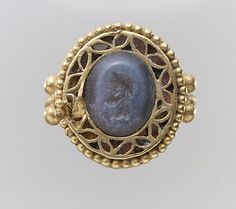 Intaglio in ring Period: Migration Date: 7th century A.D. Culture: Langobardic Medium: Chalcedony, gold