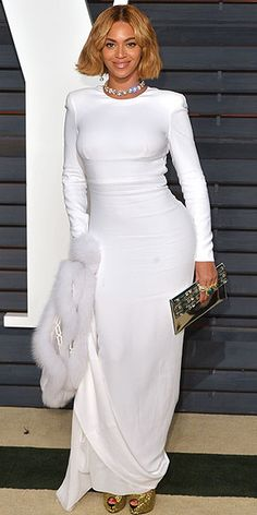 All the Oscars Dresses You Didn't See | BEYONCÉ | Diamonds, a fur stole and glittery Giuseppe Zanotti shoes: Beyoncé has a recipe for style success in her white open-back Stella McCartney gown at the Vanity Fair bash.