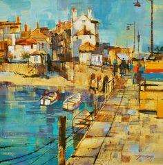 British Artist Chris FORSEY-Harbourside, St Ives