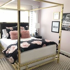 The Emily & Meritt Bed Of Roses Duvet Cover + Sham. Life truly is but a dream with this floral bedding. Designed exclusively for PBteen by celebrity stylists and fashion designers Emily Current and Meritt Elliott, this soft sheeting captures their classic Dream Rooms, Dream Bedroom, Master Bedroom, Room Decor Bedroom Rose Gold, Floral Bedroom Decor, Pink Gold Bedroom, Bedroom Decor For Small Rooms, Paris Bedroom, Fantasy Bedroom