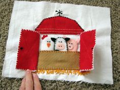 Apron Girls: Quiet Book - cute barn with finger puppets