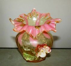 Extremely Rare Antique Jack In Pulpit Fluted Hand Blown Art Vase Featuring Delicate Applied Decorative Flower Set in Lovely Yellows & Pinks