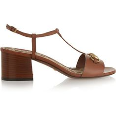 Gucci Horsebit-detailed leather sandals (900 BGN) ❤ liked on Polyvore featuring shoes, sandals, heels, brown, low heel shoes, mid heel sandals, mid-heel sandals, leather sandals and low block heel sandals #brownsandalsheels