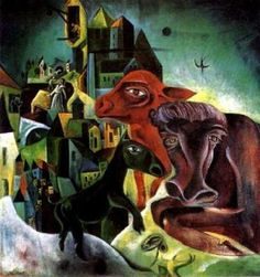 City with Animal, 1919 - by Max Ernst