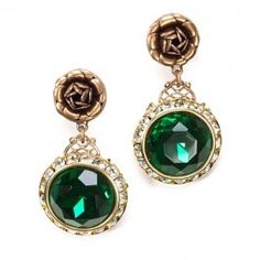"""Emerald Green Vintage Style Earrings from """"Hearts"""" at 9th & Elm.  $33"""