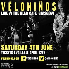 Véloniños to play The Glad Cafe on June 4th.  Tickets available April 12th: http://www.musicglue.com/veloninos/live-shows/  More info: https://www.facebook.com/events/1107717429292598/
