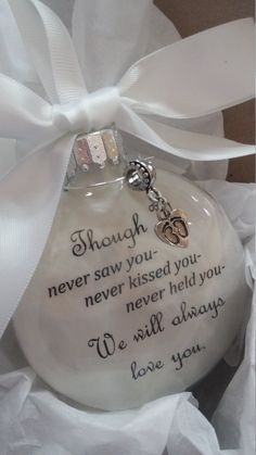 Nurses Week Quotes Discover Miscarriage Infant Loss Christmas Ornament w/Footprint Charm Though We Never Held You We Will Always Love You Feather Filled Glass In Memory Diy Christmas Ornaments, Christmas Holidays, Christmas Decorations, Christmas Ideas, Christmas Sayings, Christmas Tree, Memorial Ornaments, Memorial Gifts, Memorial Messages