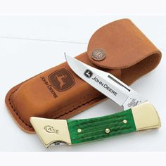 John Deere Green Handle Case Cutlery Hammerhead Knife in Leather Sheath - CC05947