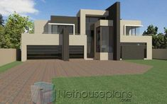 4 bedroom modern house design for sale at an affordable price. Explore modern house plan design, free house designs, modern home design plans with pictures. Tuscan House Plans, Modern House Floor Plans, House Plan With Loft, House Plans With Photos, Contemporary House Plans, Modern House Design, Modern Contemporary, 4 Bedroom House Designs, Flat Roof House Designs
