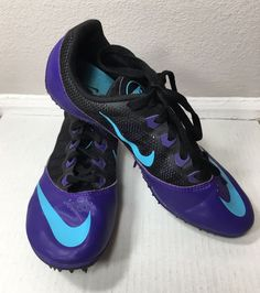 NIKE Zoom Rival S Track Running Sprint Spikes Racing Purple Blue Womens Size 6.5  | eBay