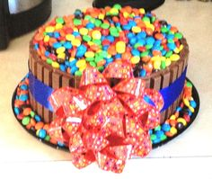 #PROJECTACCOMPLISHED... Little man's birthday cake... Kit Kat's and M!
